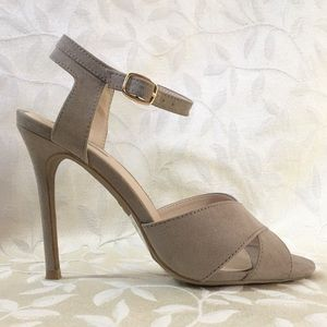 Taupe Strappy Stiletto Heels